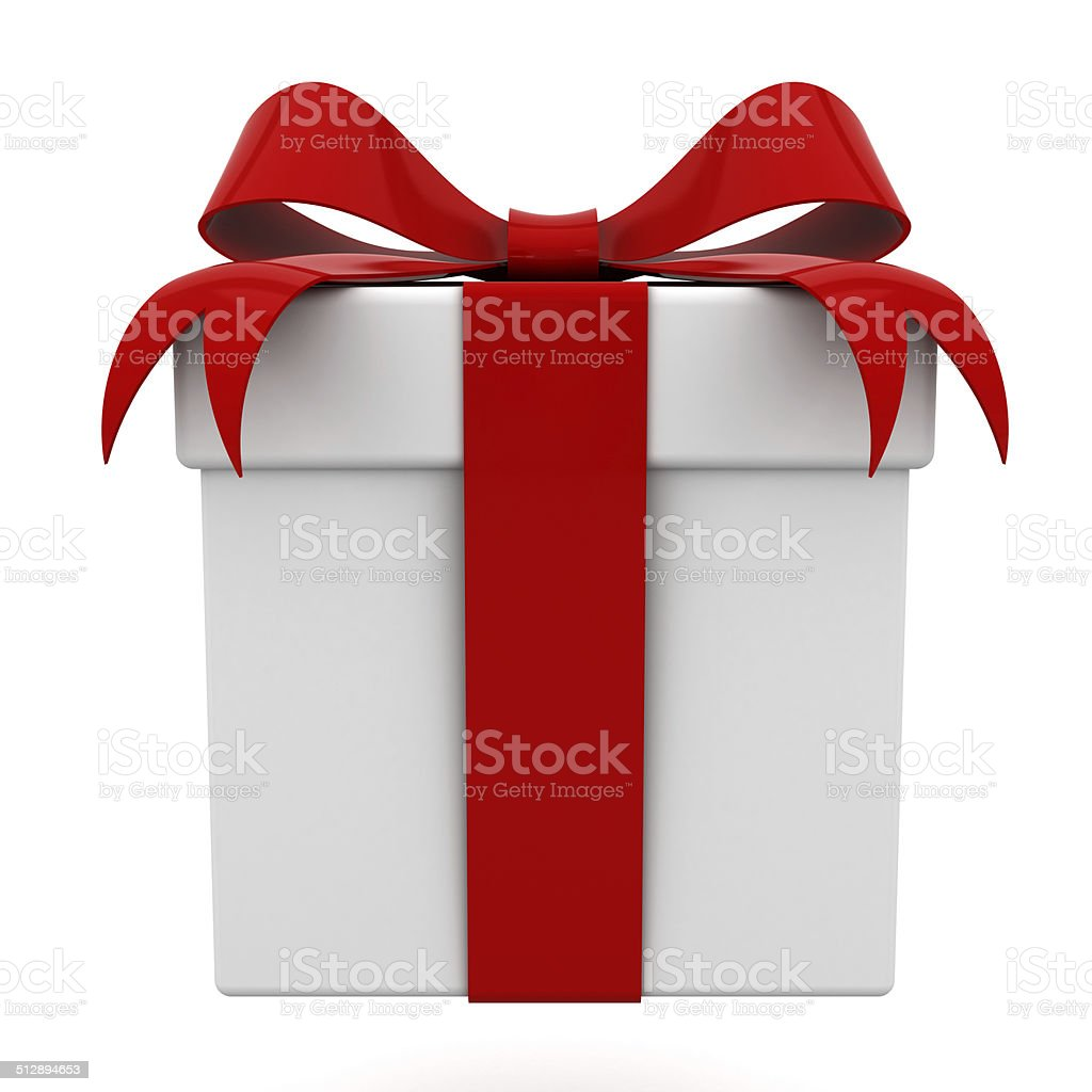 Gift box with red ribbon bow stock photo