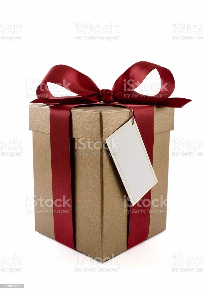 Gift box with red ribbon royalty-free stock photo