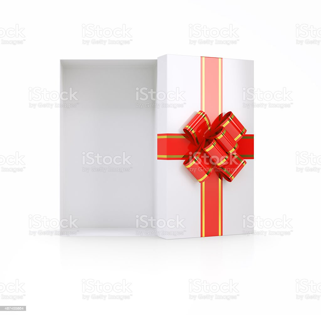 Gift box with ribbon on white, top view stock photo