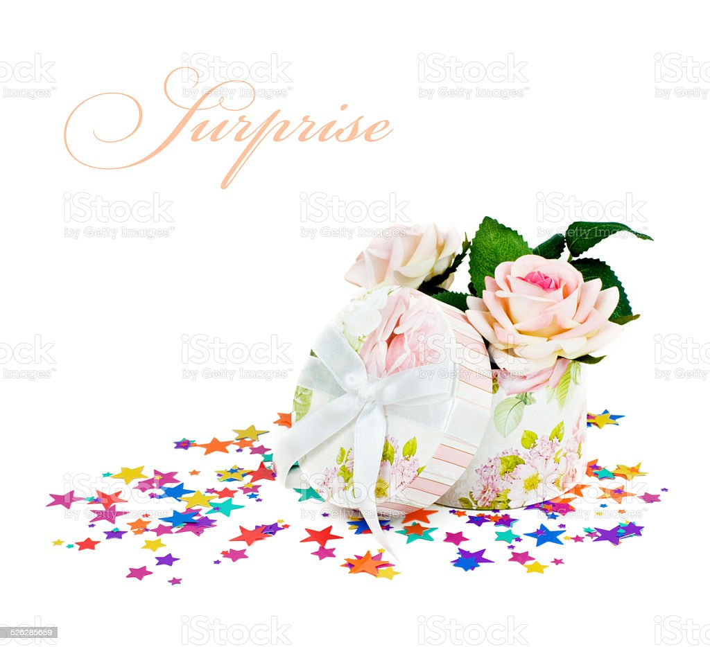 gift box with roses stock photo