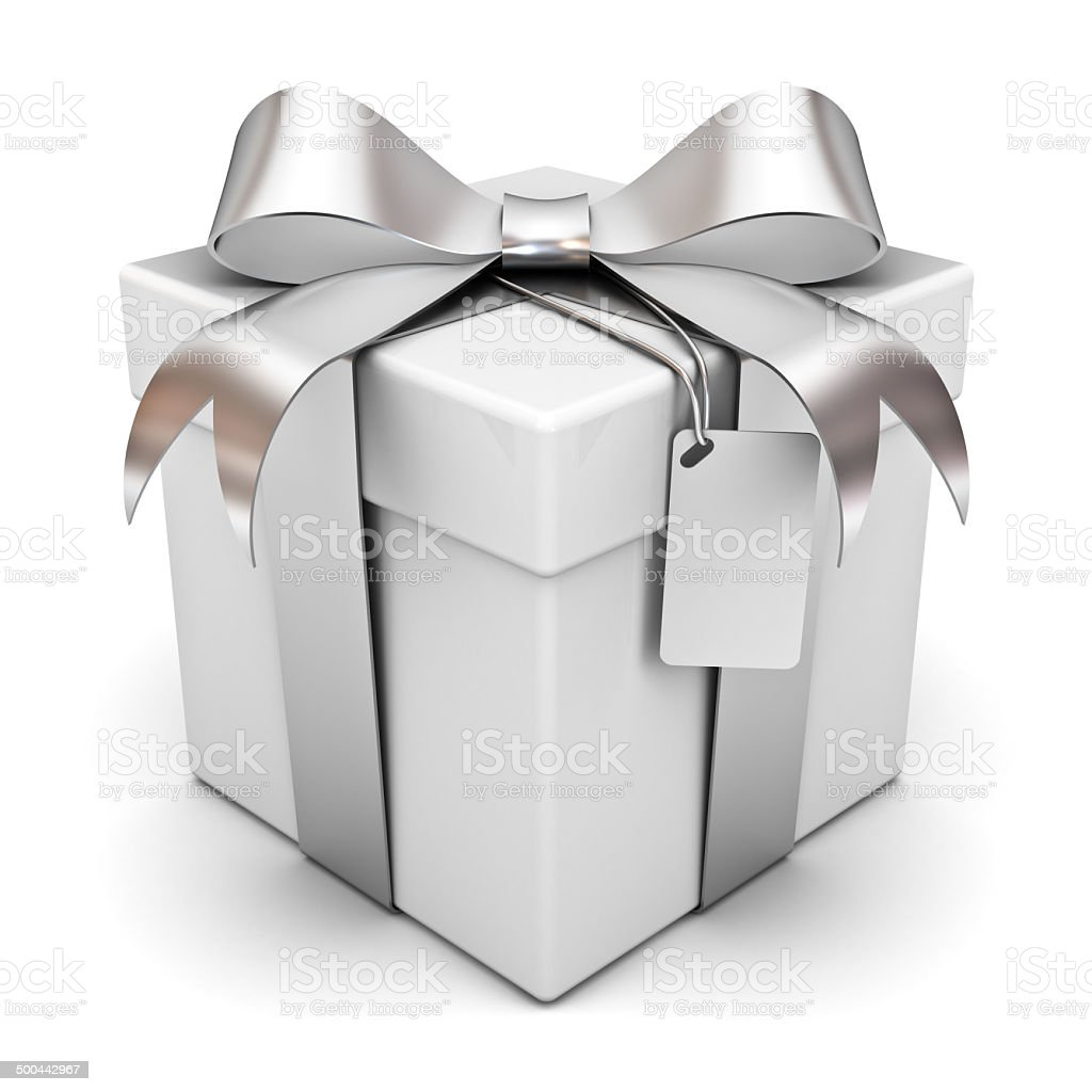 Gift box with silver ribbon bow and blank tag stock photo