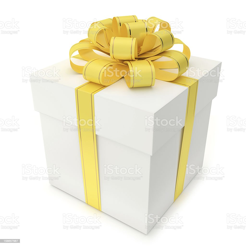 Gift Box with Yellow Ribbon and Bow royalty-free stock photo