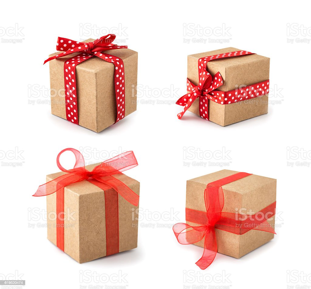 Gift box wrapped set stock photo