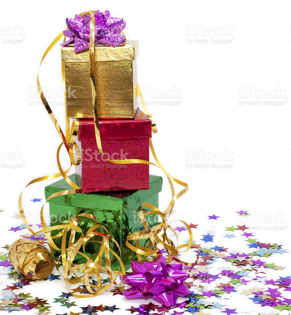 Gift boxes and gold ribbon royalty-free stock photo