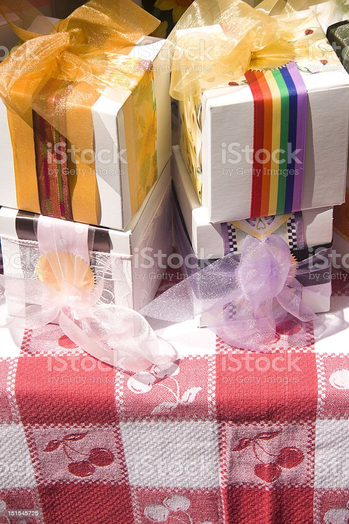 Gift Boxes at County Fair royalty-free stock photo