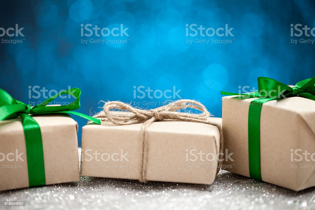 Gift boxes on blue background stock photo