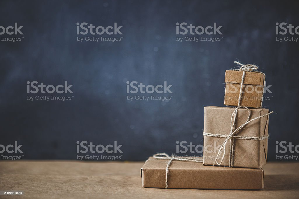 Gift boxes on kraft paper stock photo