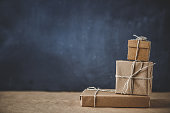 Gift boxes on kraft paper
