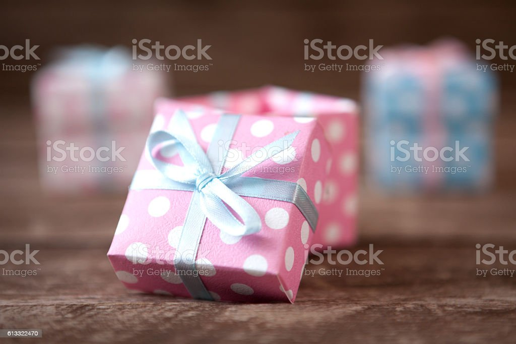 Gift Boxes On The Wood stock photo