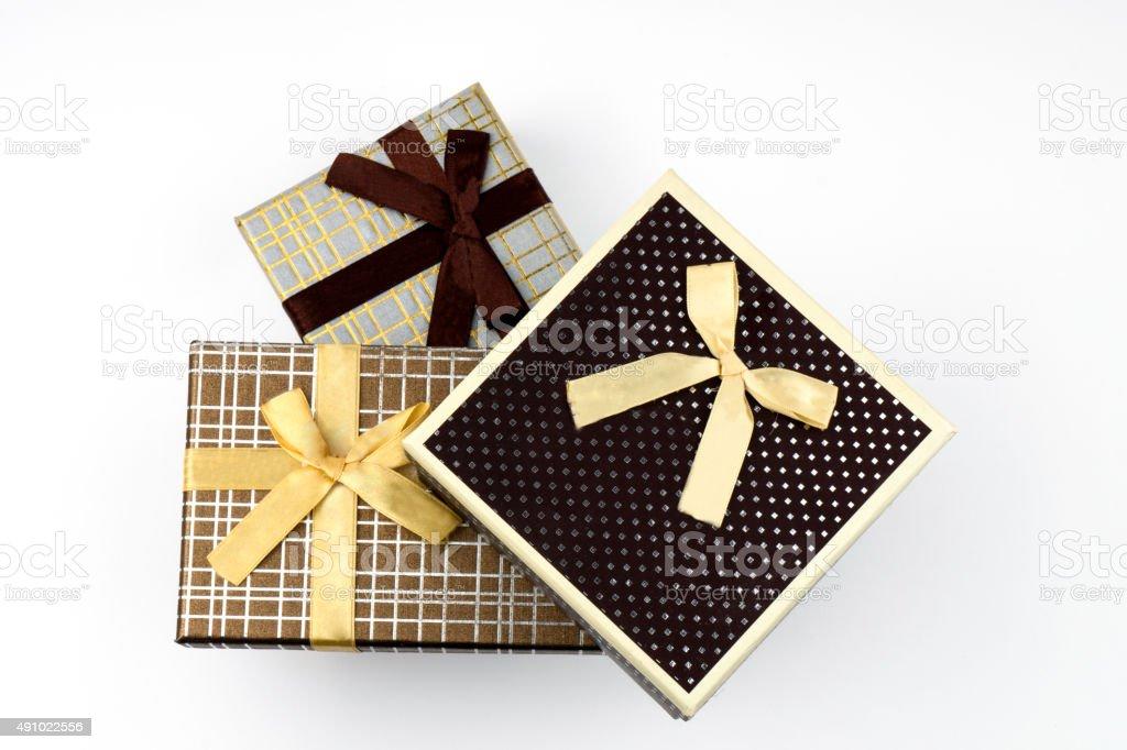 gift boxes on white background stock photo