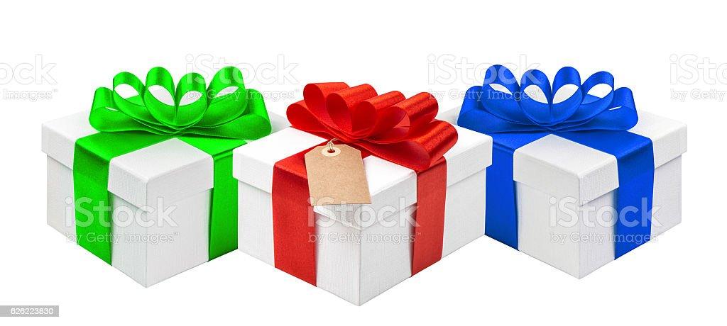 Gift boxes ribbon bow decoration isolated white background stock photo