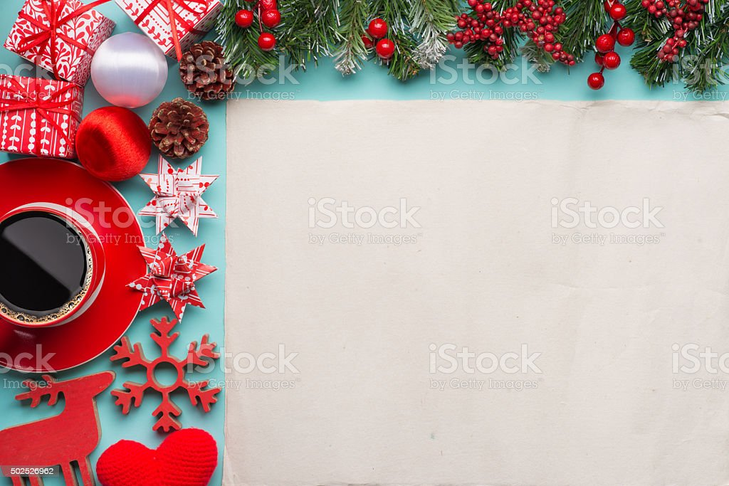 Gift boxes with blank paper stock photo