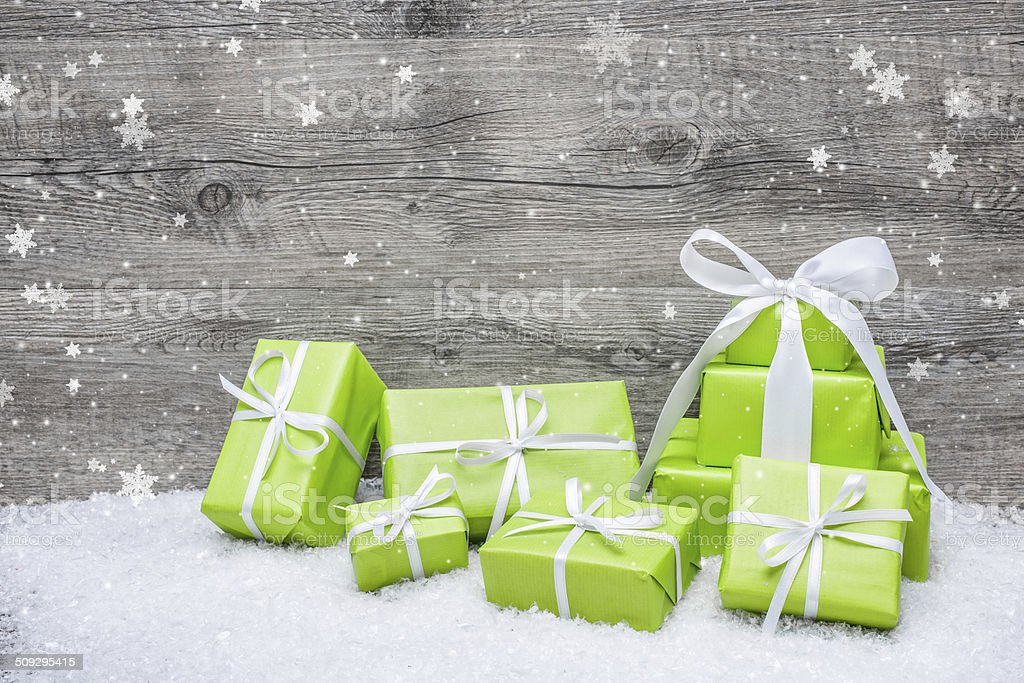 Gift boxes with bow and snowflakes stock photo