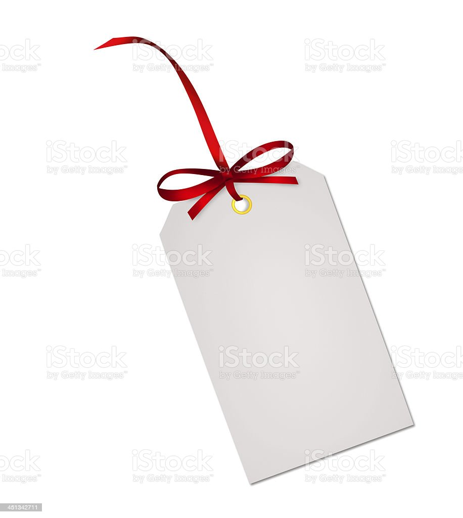 Gift card note with red ribbon bow isolated on white stock photo