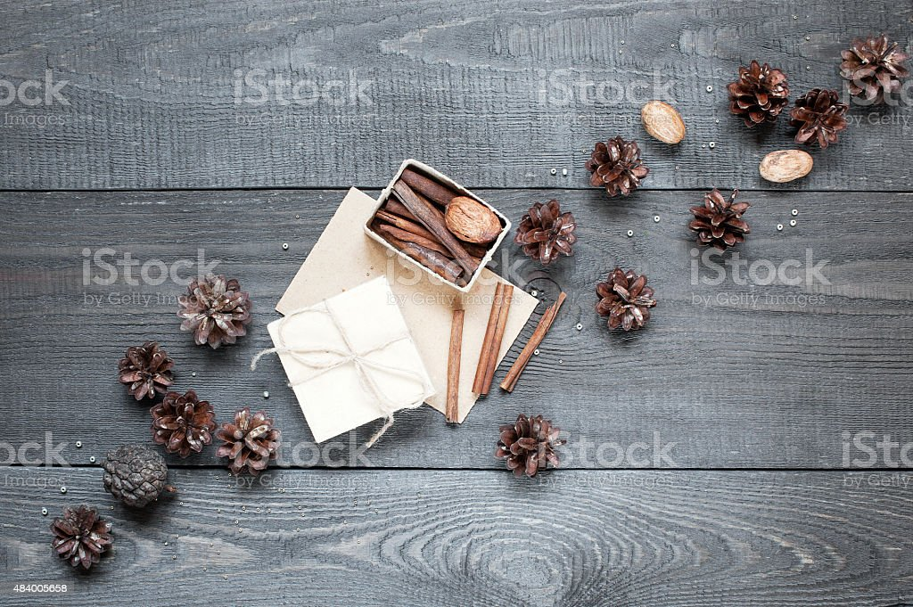 Gift, card on the dark wooden texture stock photo