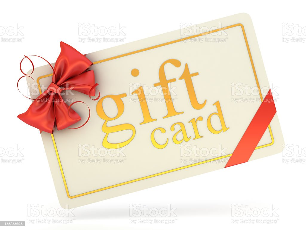 A gift card with a red bow on a white background royalty-free stock photo
