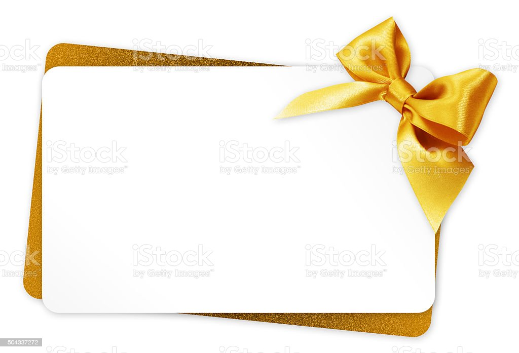 gift card with golden ribbon bow Isolated on white background stock photo