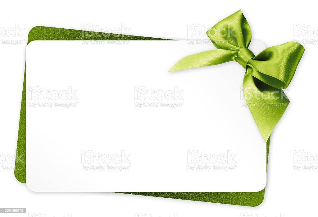 gift card with green ribbon bow Isolated on white background stock photo