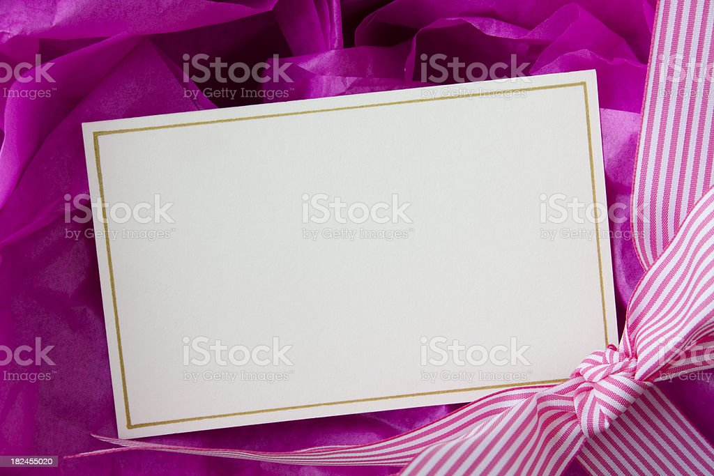 Gift card with ribbon. royalty-free stock photo
