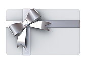 Gift card with silver ribbons and bow