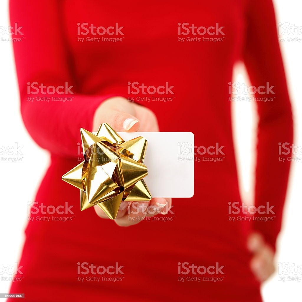 Gift card - woman showing sign royalty-free stock photo