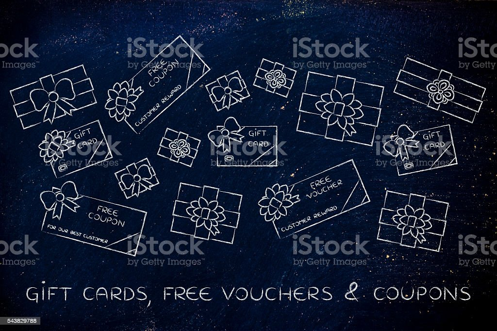 group of presents, gift card, free vouchers and coupon with wrapping...