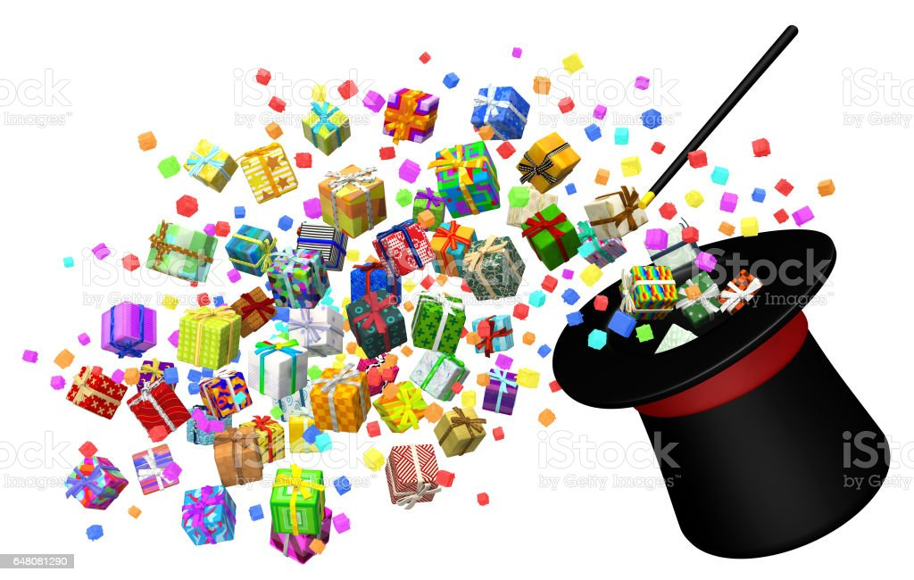 Gift Collection, Magic Trick stock photo