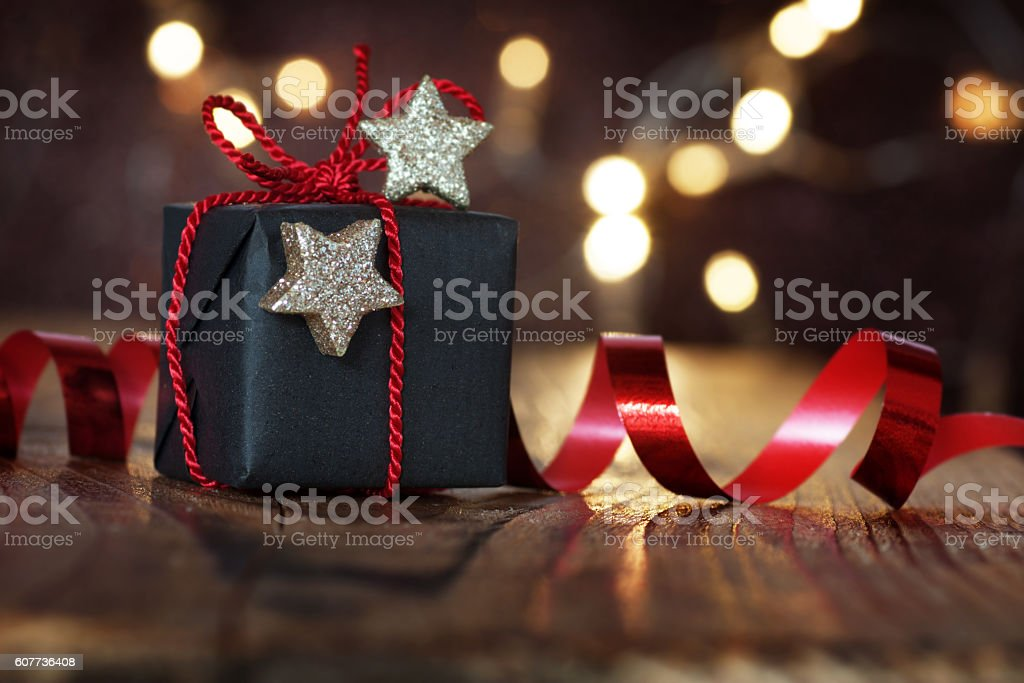 Gift for christmas eve stock photo