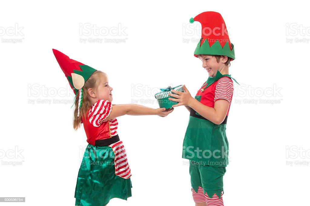 Gift Giving Elves stock photo