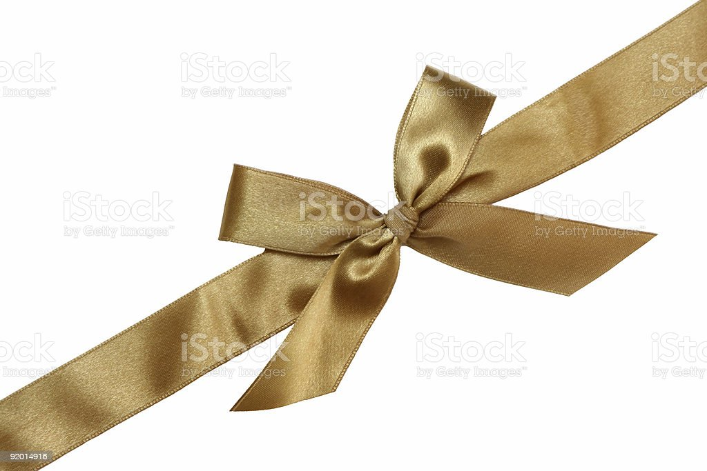 Gift golden ribbon and bow royalty-free stock photo