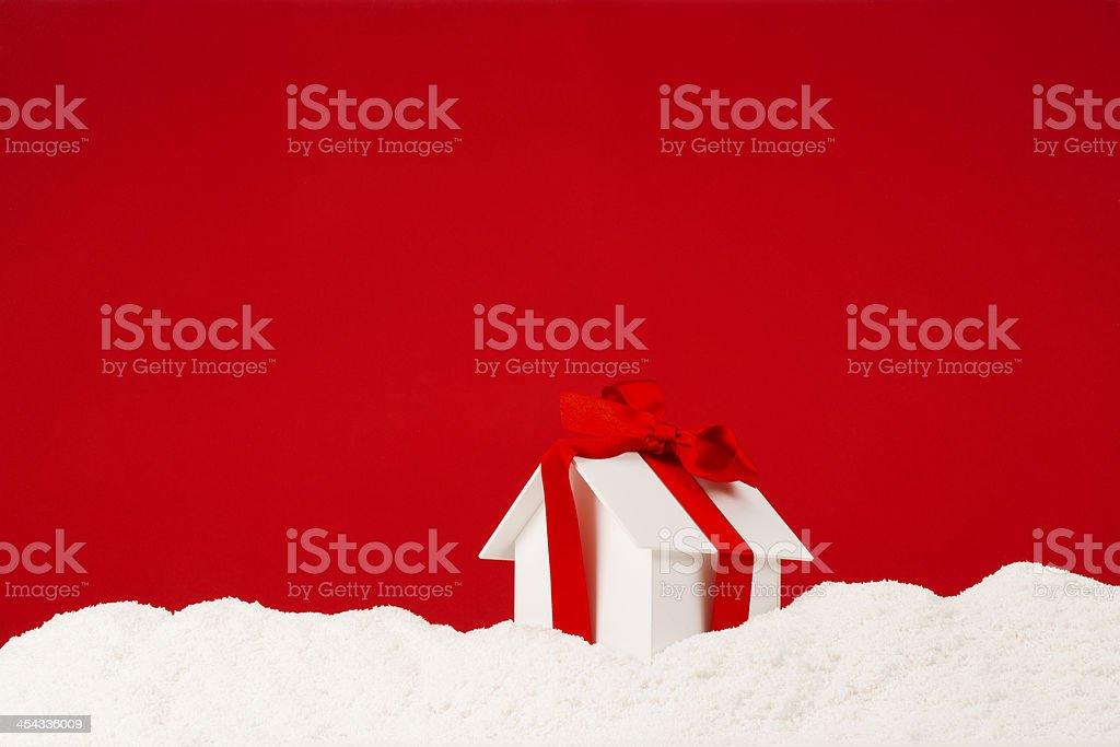 Gift House On Snow stock photo