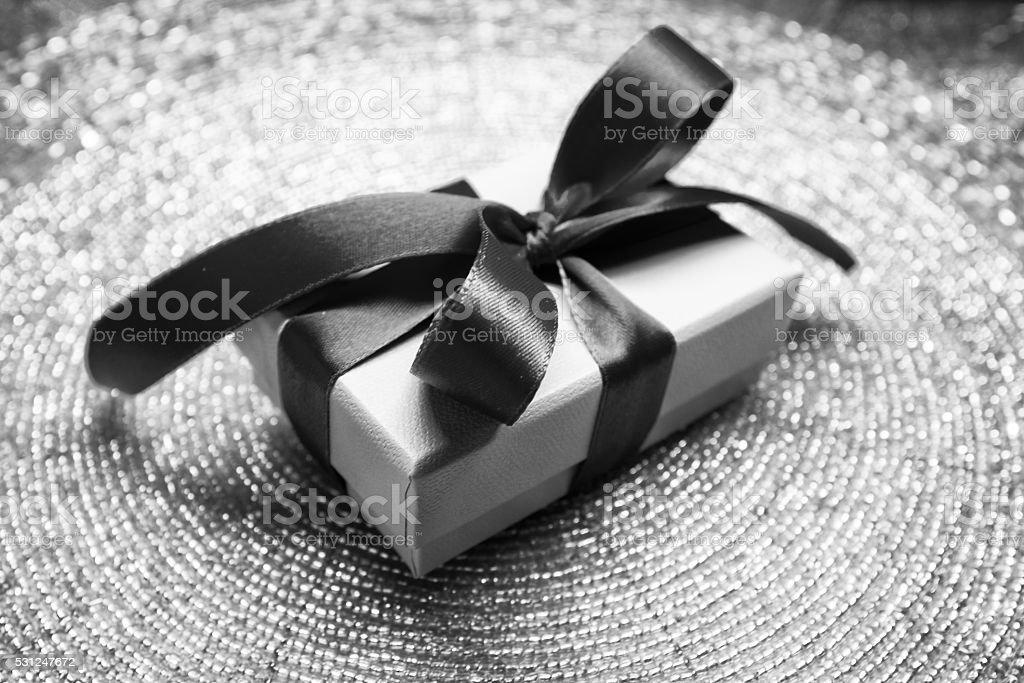 Gift in a beautiful box with a bow, candy stock photo
