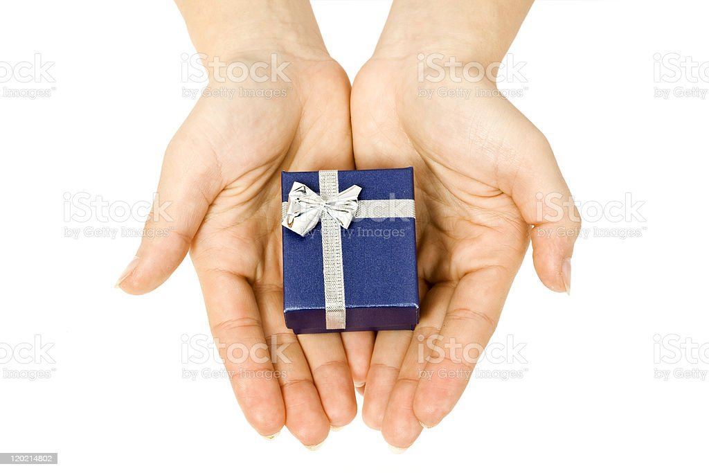 gift in hand royalty-free stock photo