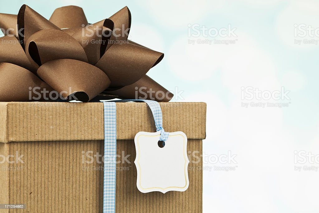 Gift in Recycled Packaging and Bow royalty-free stock photo