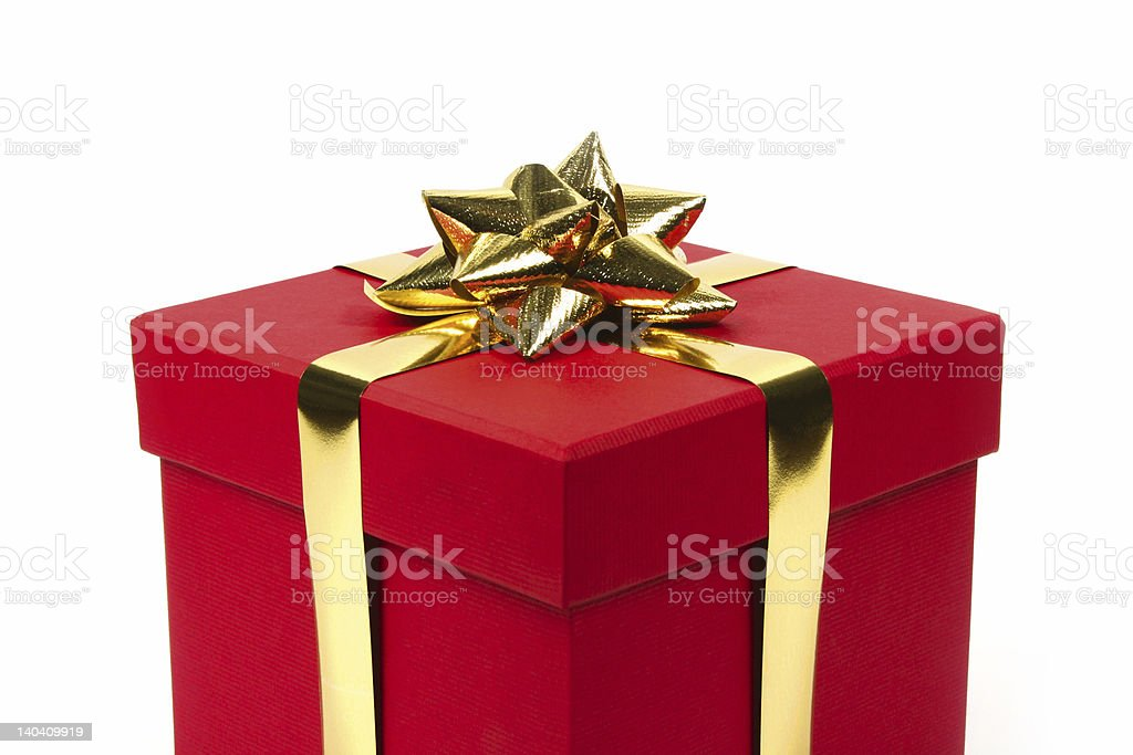 Gift in red box - closeup royalty-free stock photo