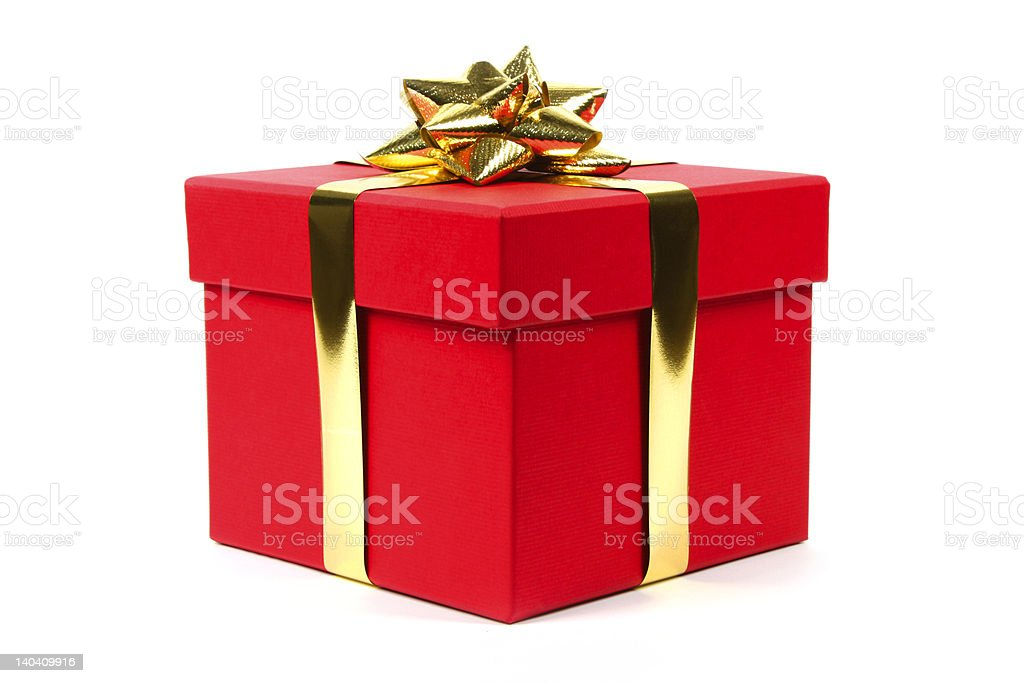 Gift in red box royalty-free stock photo