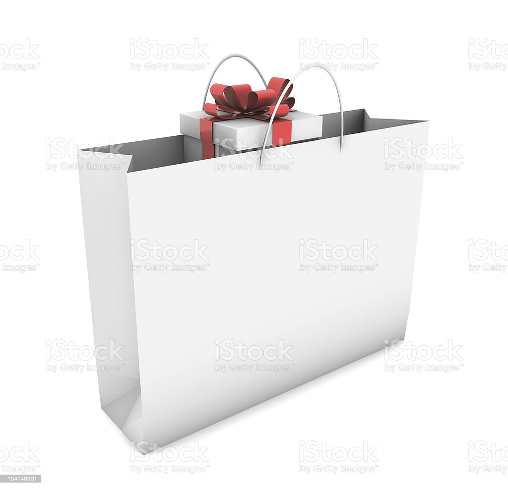 Gift in Shopping Bag stock photo