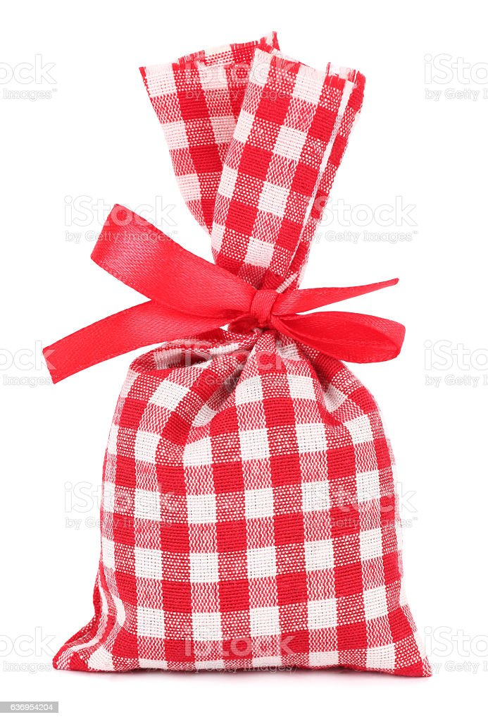 Gift lavender sack plaid cloth bag with red bow stock photo