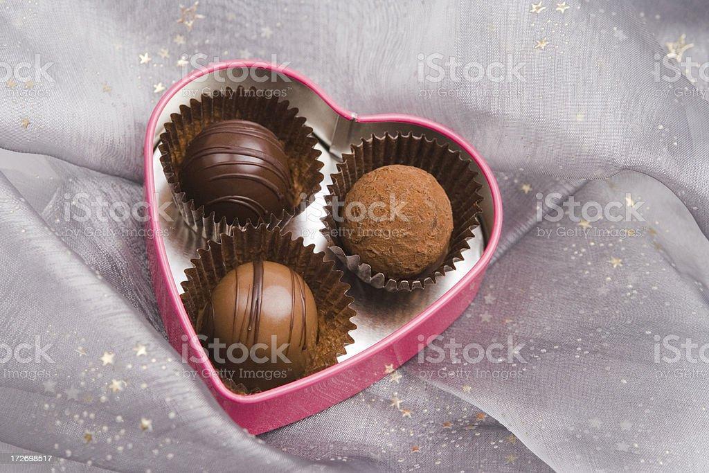 Gift of chocolate truffles royalty-free stock photo