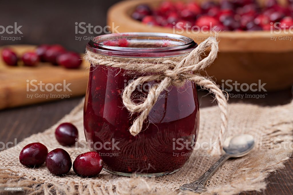 Gift of Homemade Cranberry Sauce. stock photo