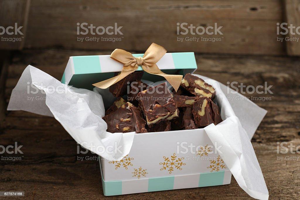 Gift Of Homemade Fudge stock photo