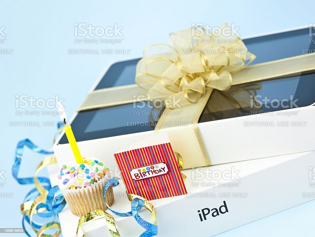 Gift of iPad for Birthday royalty-free stock photo