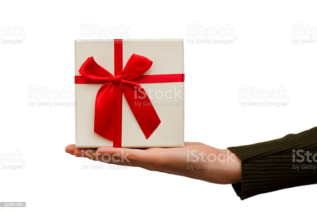 Gift on a hand stock photo