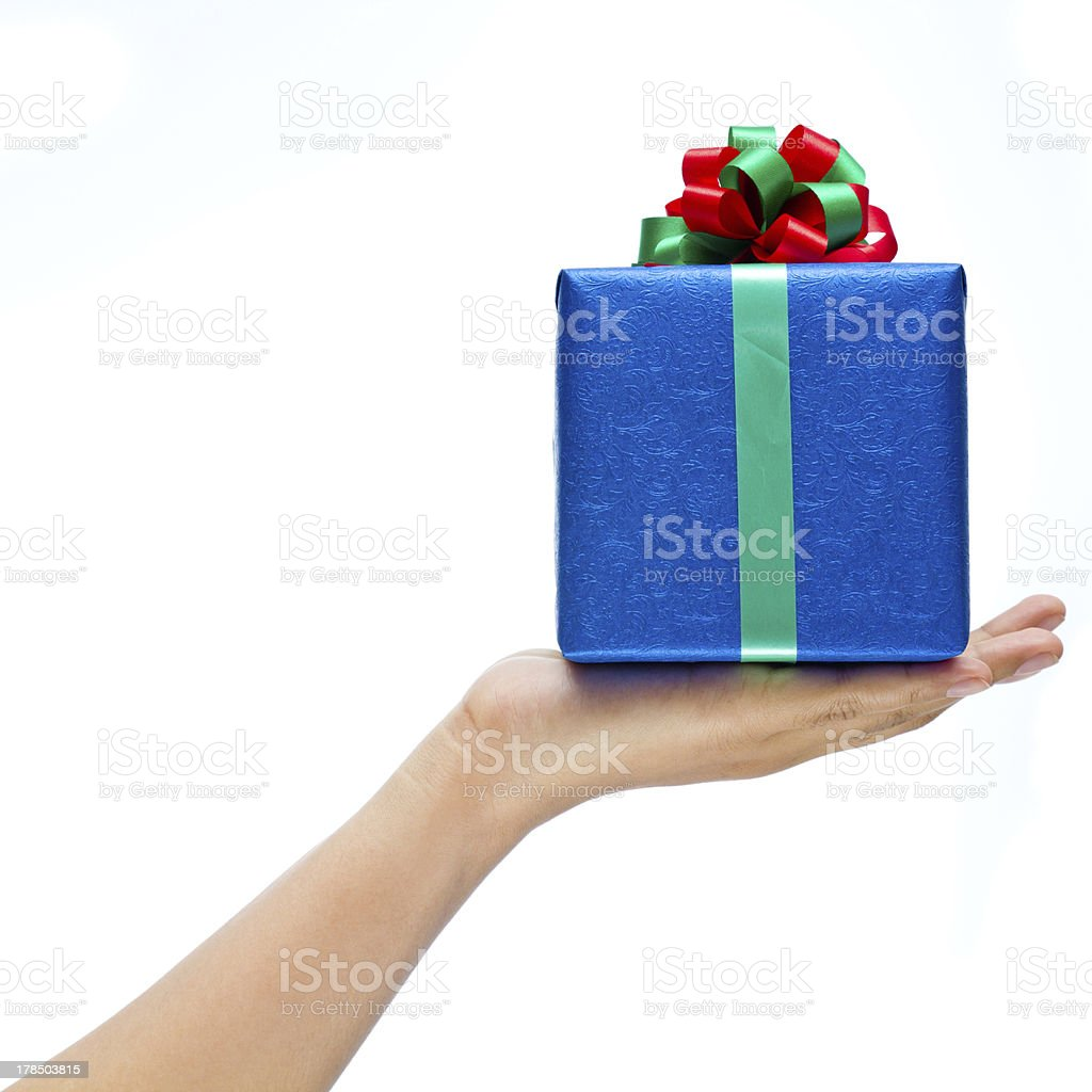 Gift on hand royalty-free stock photo