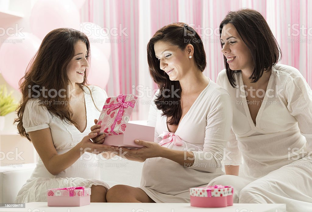 Gift opening royalty-free stock photo
