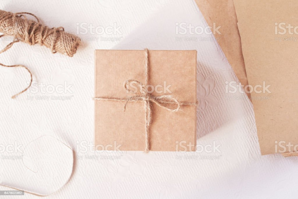 Gift packing for holidays stock photo