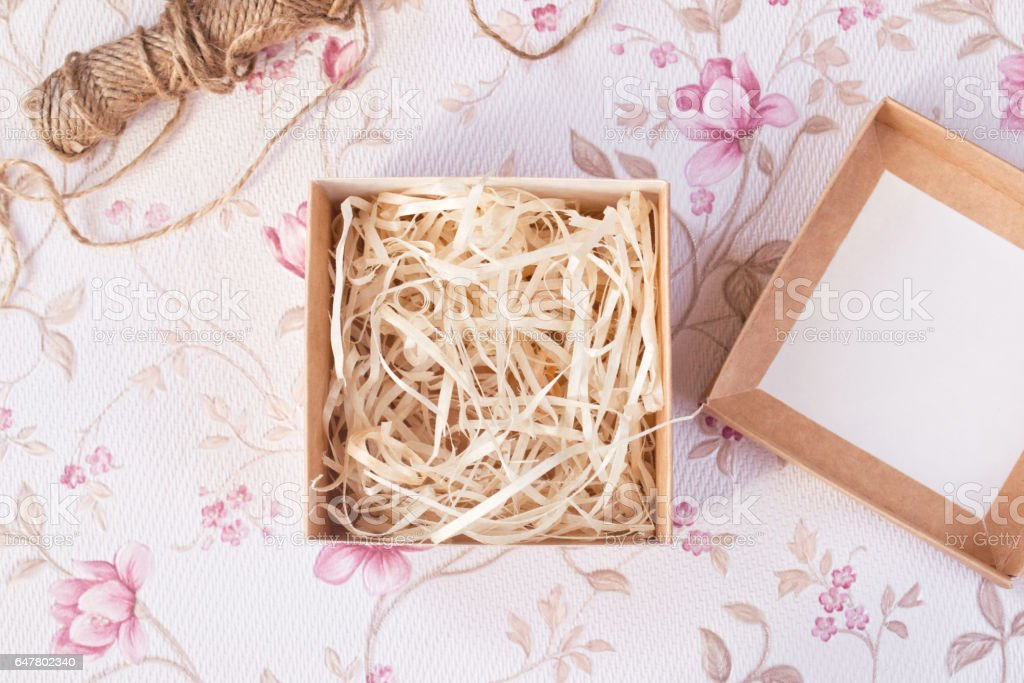 Gift packing process stock photo