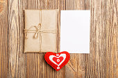Gift parcel, white blank label and red heart