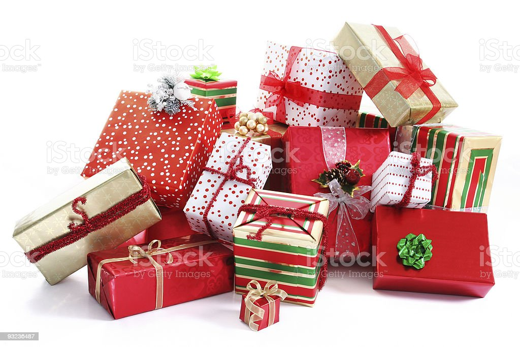 Gift pile stock photo
