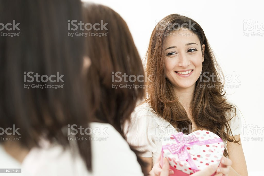 Gift receiving royalty-free stock photo